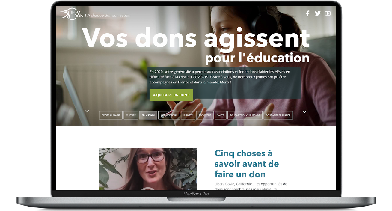 Landing page Vos Dons Agissent