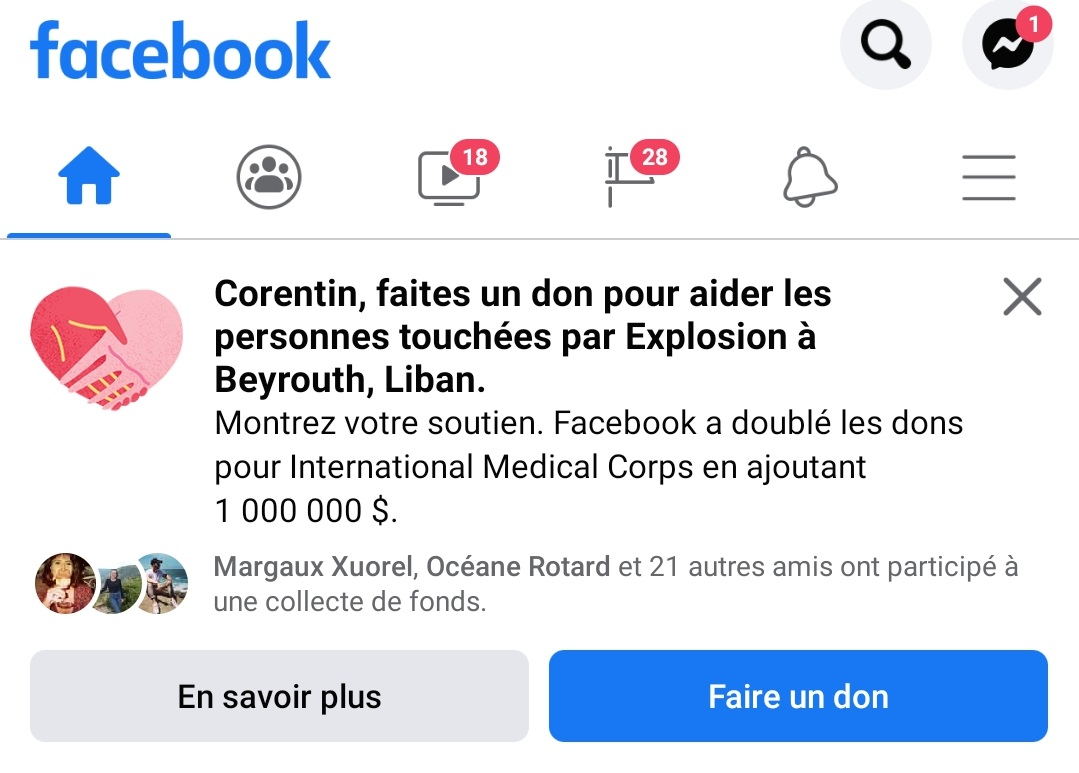 facebook urgence liban