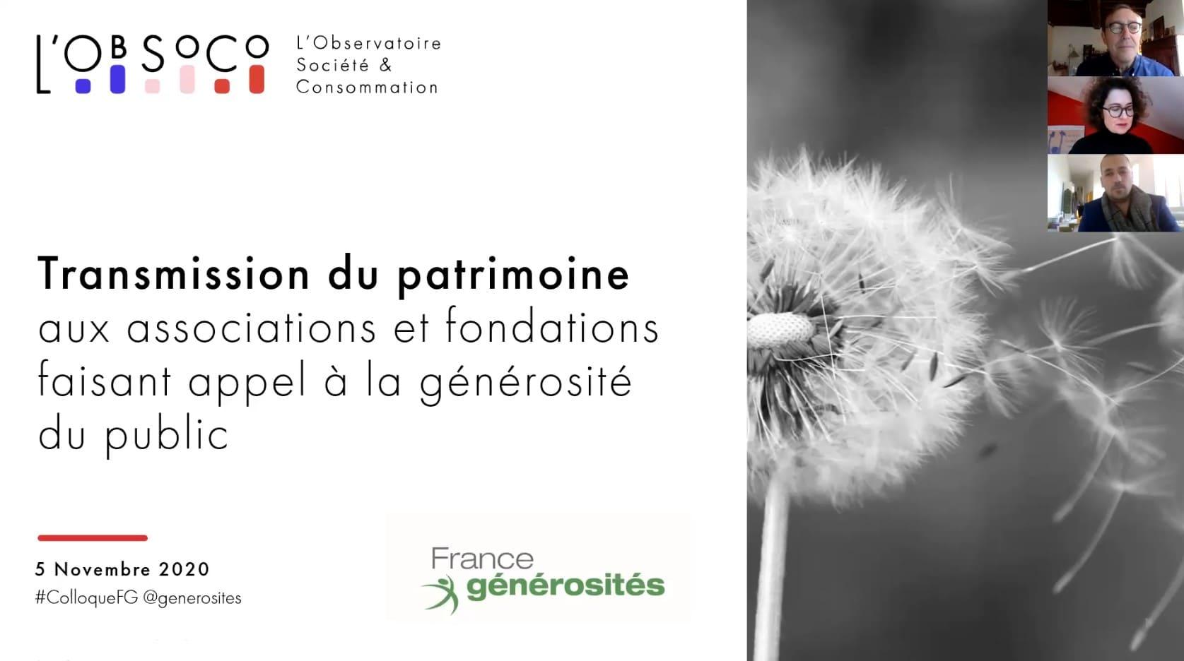 Présentation de l'étude sur les libéralités et les intentions des français