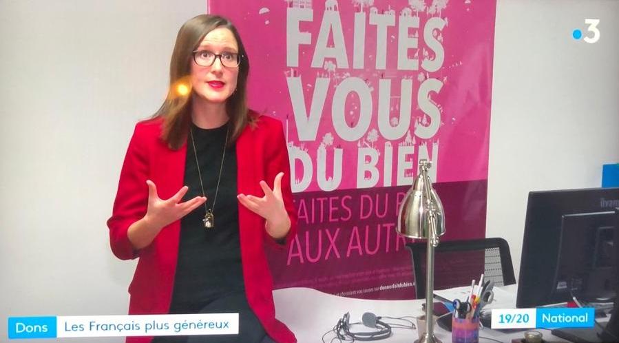 passage nolwenn poupon JT France 3 RP baromètre de la générosité chiffres clés